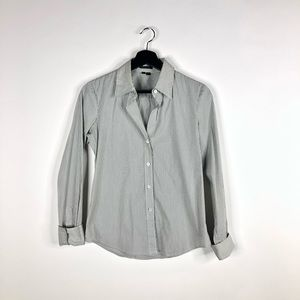 Theory Stripped Button Down Blouse W/Deep Neck